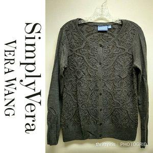🆕Simply Vera Wang Cardigan Metallic Sweater-Sz. M